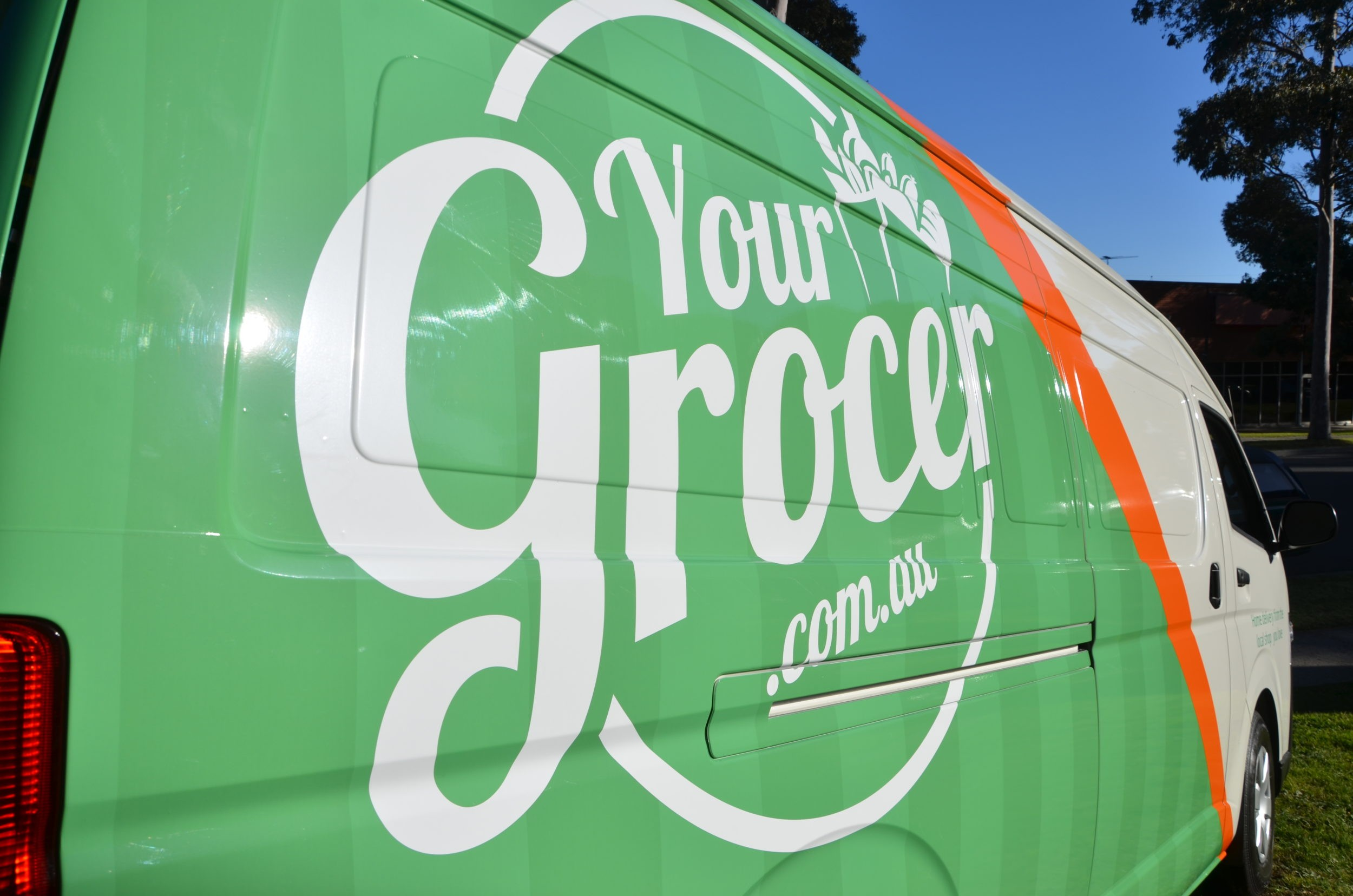 your grocer green and orange wrap