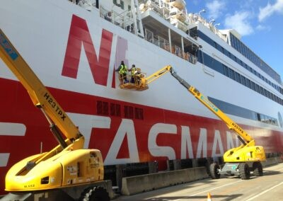 Spirit of tasmania large vinyl lettering application