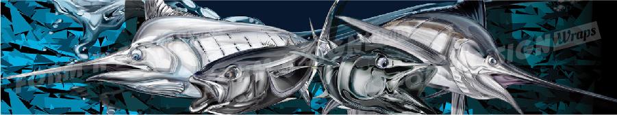Carbon camo fish stock wrap design for vinyl boat wrap