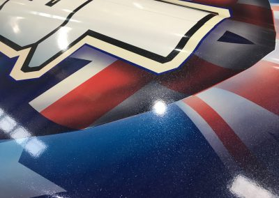 Custom boat wrap with specialised glitter laminate