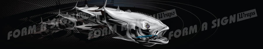 Carbon fish explosion stock wrap design for vinyl boat wrap