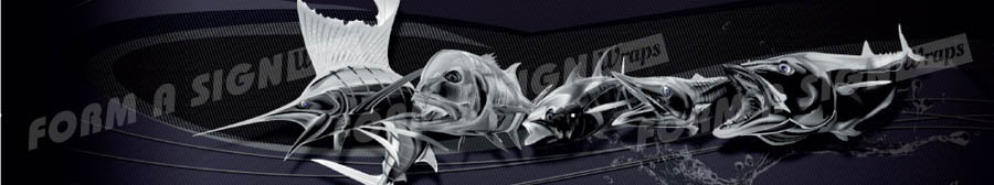 Carbon fish swirl stock wrap design for vinyl boat wrap