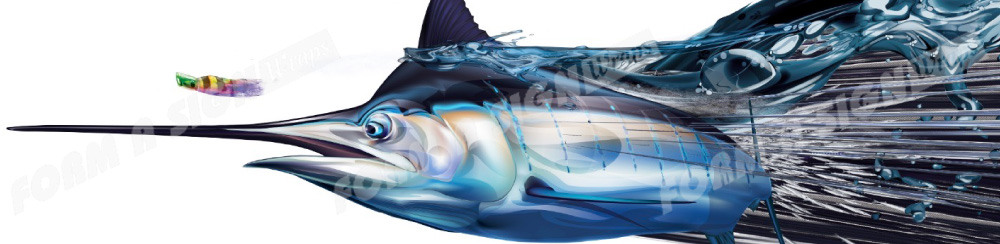 half wrap blue marlin and lure vinyl boat wrap