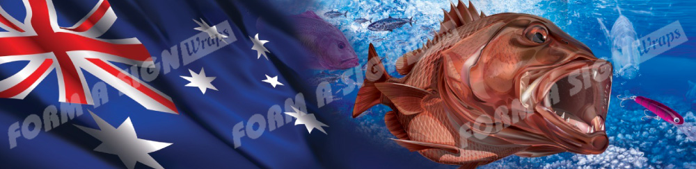 Aussie flag and snapper with lure digital vinyl boat wrap