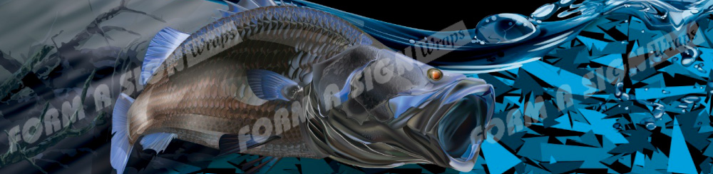 Barramundi fish stock boat wrap blue glass camo vinyl background