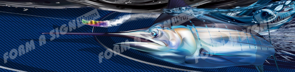 Black Marlin with blue background vinyl boat wrap
