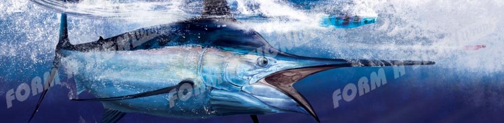Black marlin illustration vinyl boat wrap in ocean