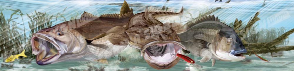 Flathead fish on ocean floor stock boat wrap melbourne