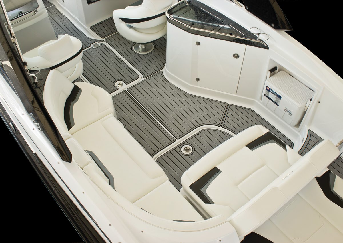 custom designed interior boat flooring routered aggregated cutting