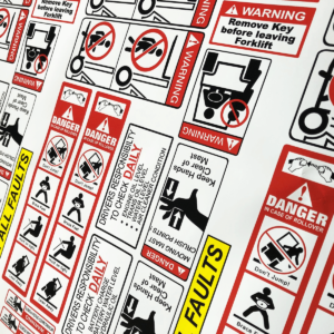 Printed forklift safety sticker kits