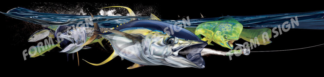 Boat wrap design with mahi mahi and yellow fin tuna fish