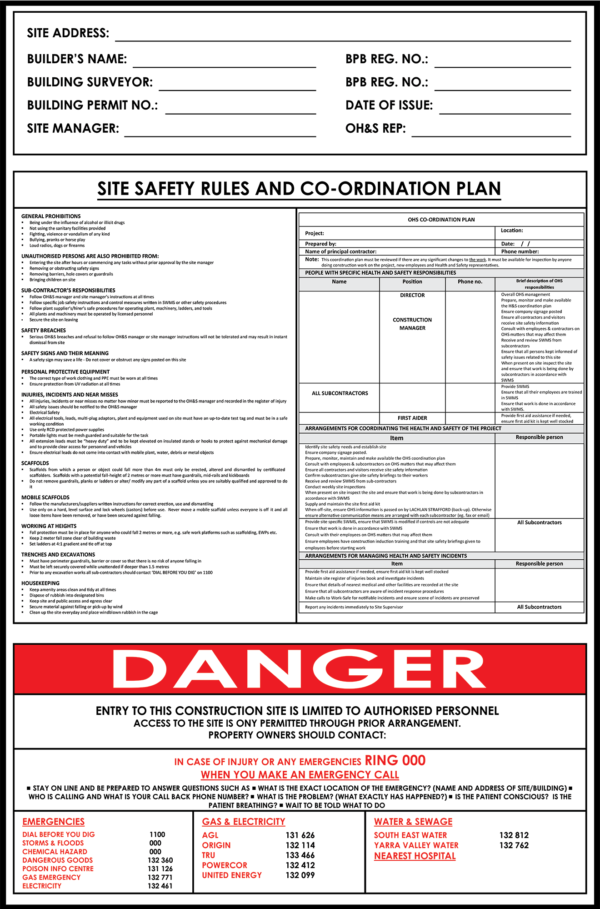 site safety rules corflute print