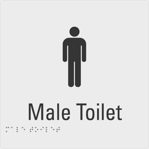 Male Toilet Silver Braille Sign