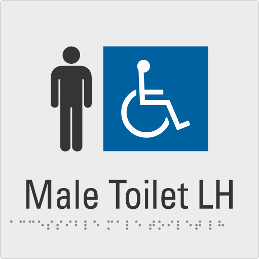 Male Toilet LH Silver Braille Sign