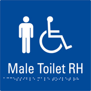 Male Toilet RH Blue Braille Sign