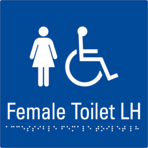 Female Toilet LH Blue Braille Sign