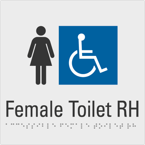 Female Toilet RH Silver Braille Sign