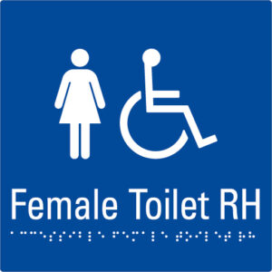 Female Toilet RH Blue Braille Sign