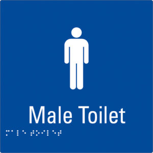 Male Toilet Blue Braille Sign