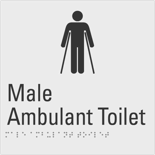 Male Ambulant Toilet Silver Braille Sign