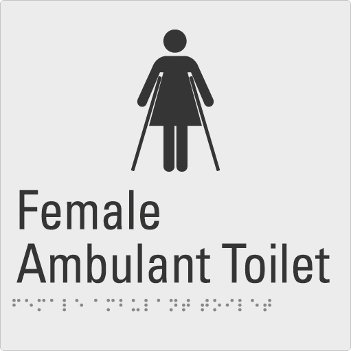 Female Ambulant Toilet Silver Braille Sign
