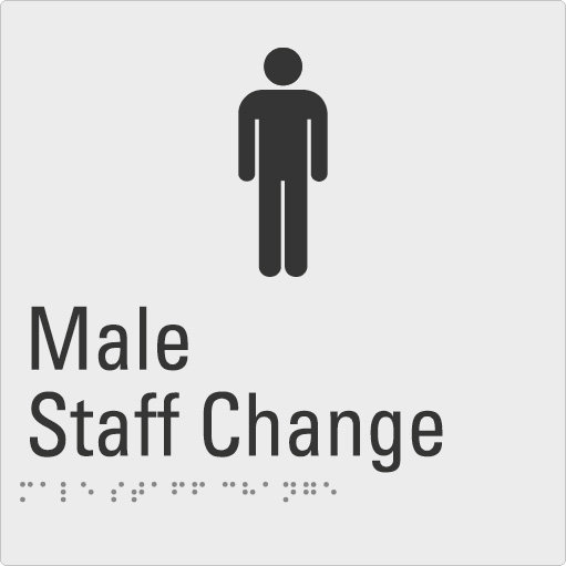 Male Staff Change Silver Braille Sign