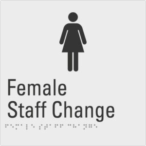Female Staff Change Silver Braille Sign