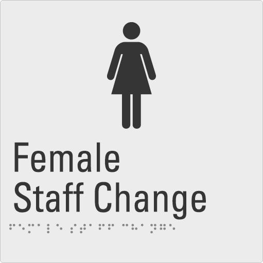 Female Staff Change Silver Braille Sign