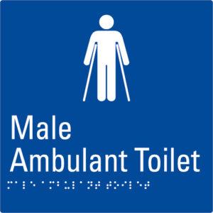 Male Ambulant Toilet Blue Braille Sign