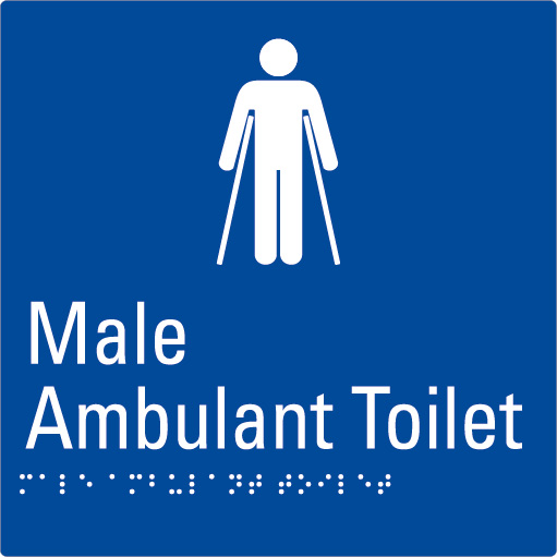 Male Ambulant Toilet Blue Braille Sign
