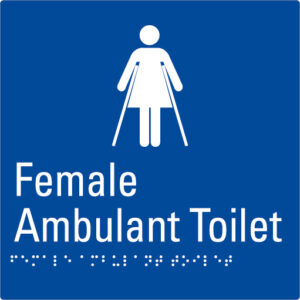 Female Ambulant Toilet Blue Braille Sign