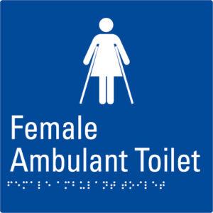 Female Ambulant Toilet Blue Braille Sign