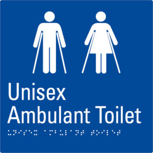 Unisex Ambulant Toilet Blue Braille Sign