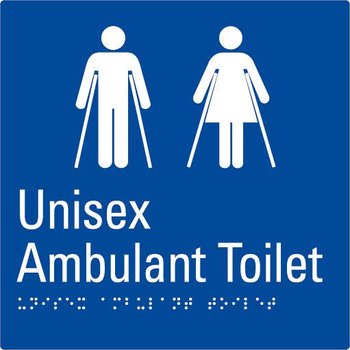 Unisex Ambulant Toilet Blue Braille Sign