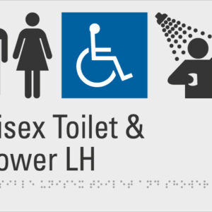 Unisex Toilet & Shower LH Silver Braille Sign