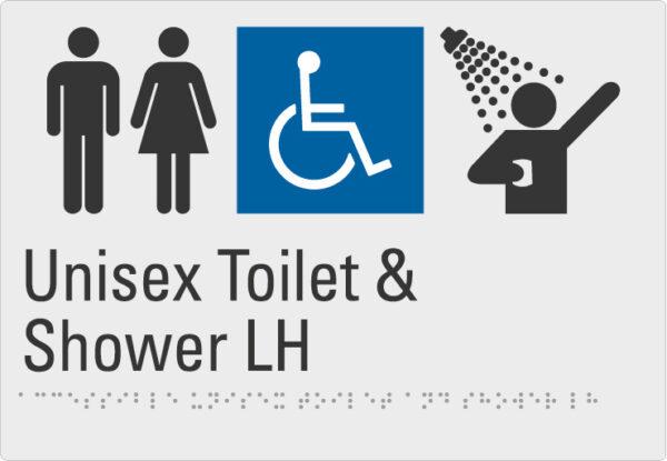 Unisex Toilet & Shower LH Silver Braille Sign