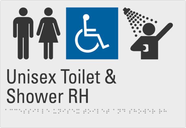 Unisex toilet & Shower RH Silver Braille Sign