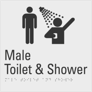 Male toilet & shower Silver Braille Sign