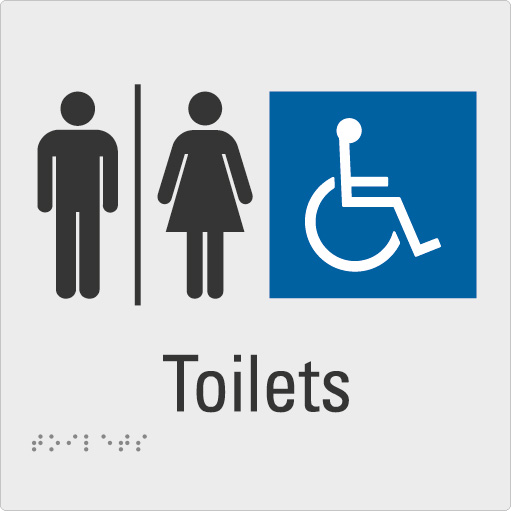 Toilets Silver Braille Sign