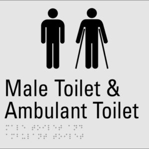 Male Toilet & Ambulant Toilet Silver Braille Sign