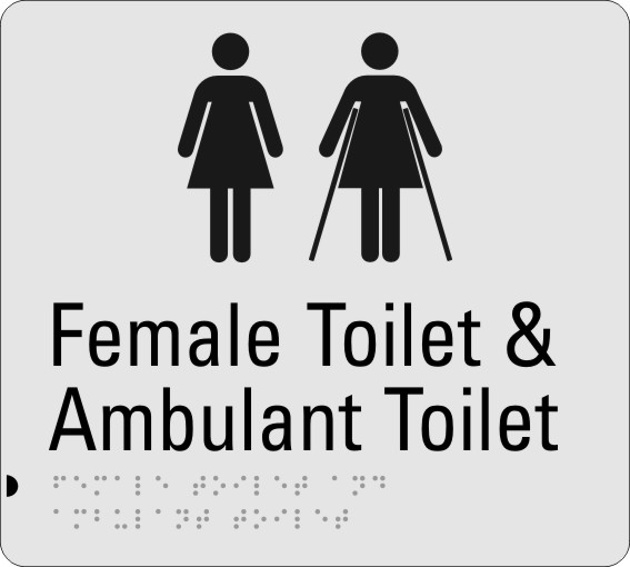 Female Toilet & Ambulant Toilet Silver Braille Sign