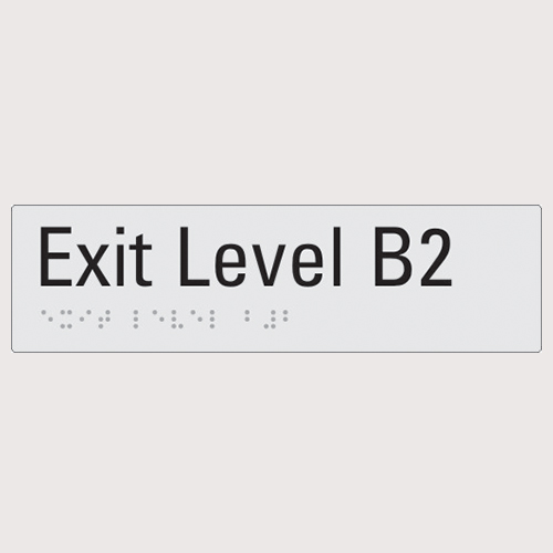 Exit level B2 silver braille sign
