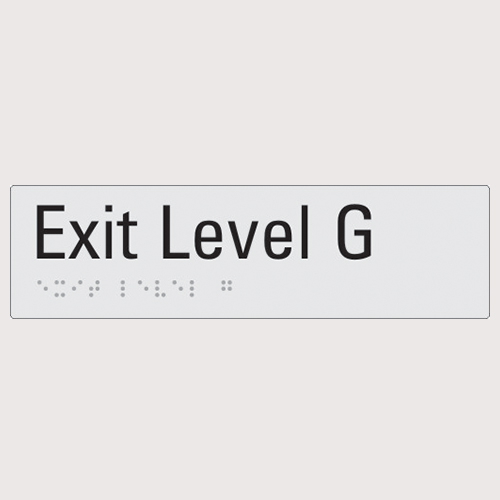 Exit level G silver braille sign