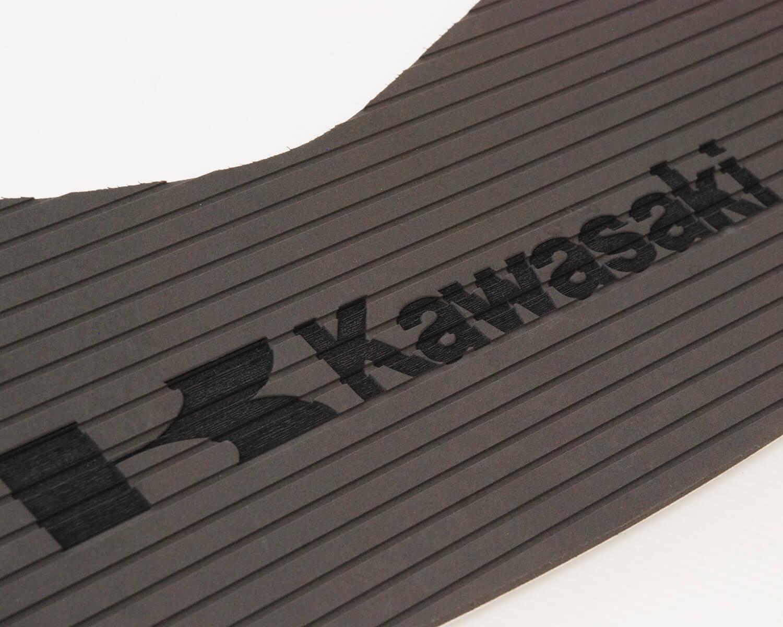 kawaski laser engraved into surfgrip jetski flooring