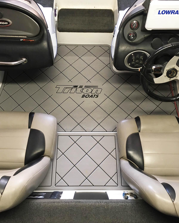 winter grey on black custom marine flooring