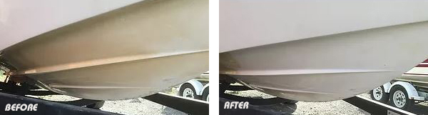 Peak 4HF Fibreglass Boat Deoxidiser before and after